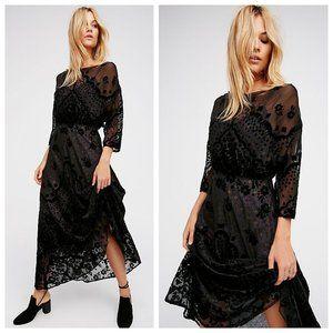 Free People Black Sybil Velvet Sheer Maxi Dress